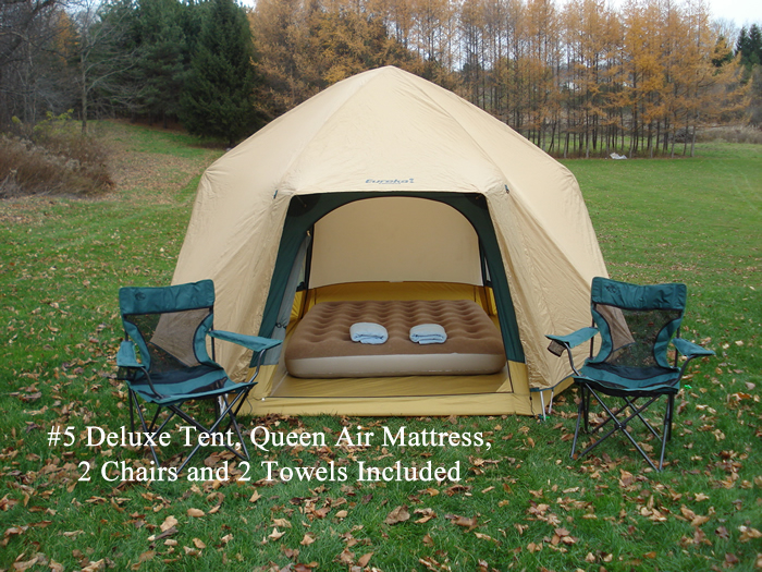 #8 Deluxe Tent Queen Air Mattress Chair and Towel. & Comfy Campers Tent Package #8